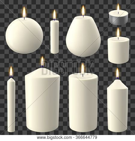 Realistic Candles. Holidays Candlelight, Romantic And Cozy Flaming Wax Candle, Party Celebration Bur