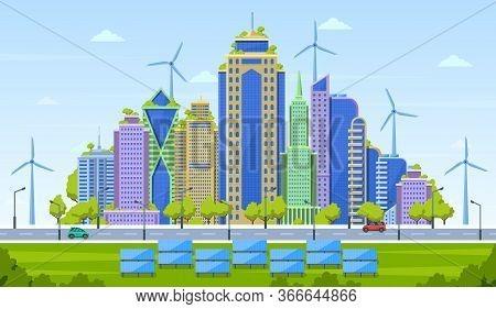 Eco City Concept. Smart City Landscape, Urban Modern Cityscape, Eco Friendly Skyscrapers With Altern