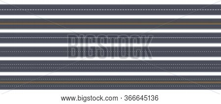 Tow View Road. Highway Horizontal Asphalt Marked Roads, Urban Street Straight Roadway Marking Vector