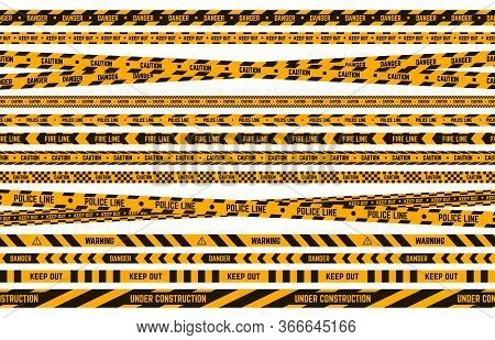 Danger Police Tape. Caution Yellow And Black Tape, Criminal Perimeter Striped Line, Attention Warnin
