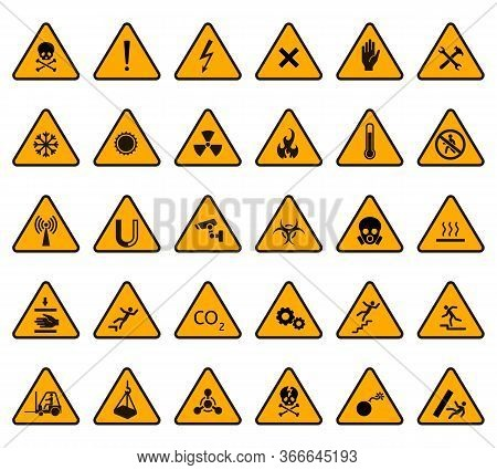 Warning Signs. Caution Attention Warning Yellow Sign, Danger High Voltage And Biohazard Signs Triang