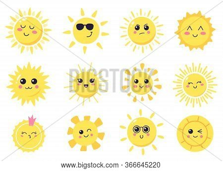 Happy Cartoon Sun. Hand Drawn Cute Smiling Suns, Sunny Happy Characters, Shining Bright Sun Vector I