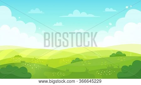 Cartoon Meadow Landscape. Summer Green Fields View, Spring Lawn Hill And Blue Sky, Green Grass Field