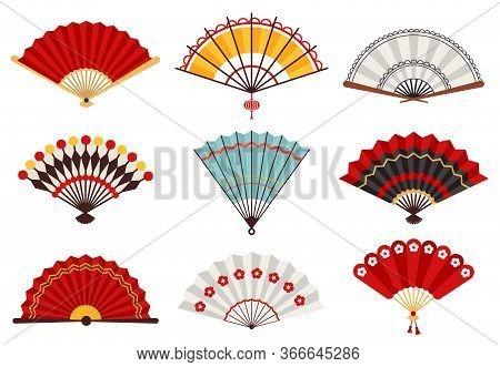 Hand Paper Fans. Asian Traditional Folding Hand Fan, Japanese Souvenir, Wooden Chinese Hand Traditio