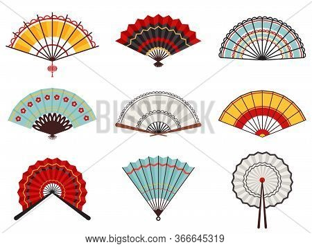 Asian Hand Fans. Paper Folding Hand Fans, Chinese, Japanese Decorative Traditional Oriental Wooden F
