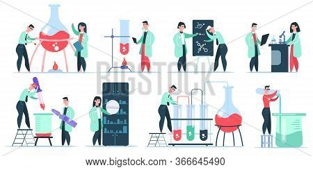 Science Chemist Characters. Science Laboratory Research, Working Chemistry Clinic Scientists. Pharma