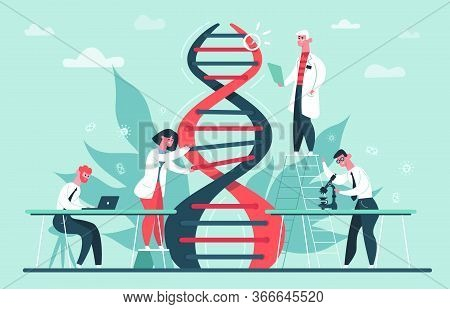 Genetic Dna Research. Lab Genome And Dna Code Science Researches, Scientist Professor Crispr Cas9 Ge