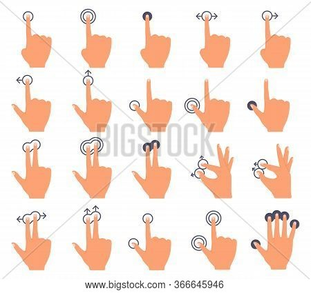 Hand Touch Screen. Touch Swiping Interface, Hands And Swipe Gestures, Smartphone Screen Finger Tap V