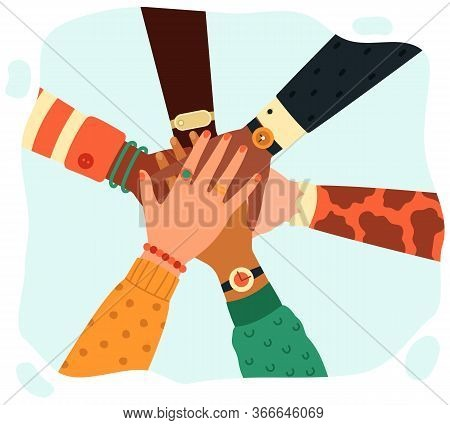Hands Putting Together. People Group Putting Hands Teamwise, Partnership, Teamwork, Unity And Friend