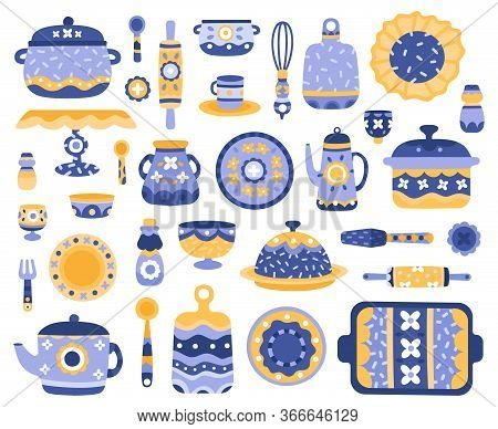 Cartoon Ceramic Crockery. Kitchen Cookware, Porcelain Tableware, Dishes, Teapot, Serving Crockery Ve