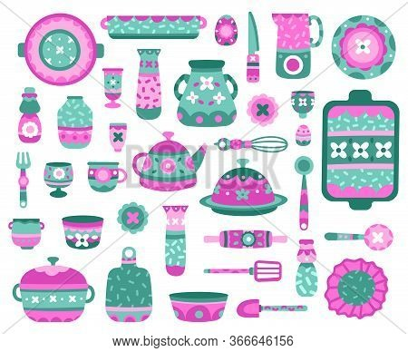 Cartoon Kitchen Dishes. Ceramic Crockery, Dishes, Teapot, Cups And Plates, Porcelain Ceramic Tablewa