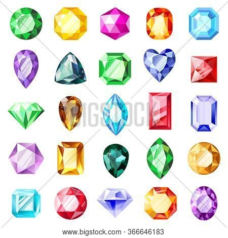 Jewel Gemstones. Jewelry Crystal Gems, Diamond Jewel Precious Gemstone, Luxury Brilliant Gems. Cryst
