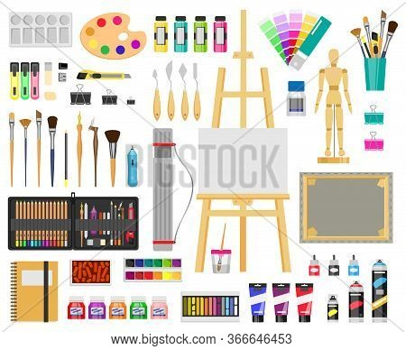 Paint Art Tools. Artistic Supplies, Painting And Drawing Materials, Brushes, Paints, Easel, Creative