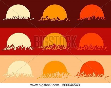 Set Of Round Emblems Of Silhouettes Sunset Image, Sun Setting Behind Clouds.
