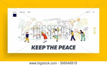 Peace Or International Children Day Landing Page Template. Kids Characters Of Different Nationalitie