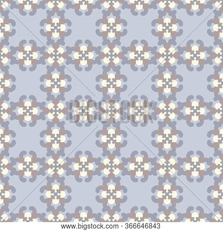 Seamless Pattern Retro, Vintage. Blue, Chocolate Color And Pale Yellow. Pastel Colors. Vector.