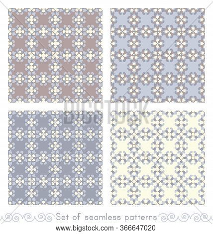 Set Of Seamless Patterns Retro, Vintage. Chocolate Color, Blue, Blue Jean And Pale Yellow. Pastel Co