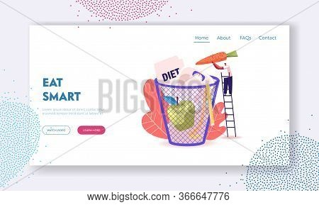 People Healthy Life Disruption Landing Page Template. Diet Failure. Tiny Male Character Throw Carrot