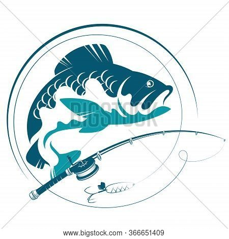 Fish For Bait And Fishing Rod Silhouette