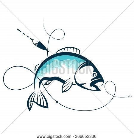 Fish And Hook On Fishing Line Silhouette For Fishing
