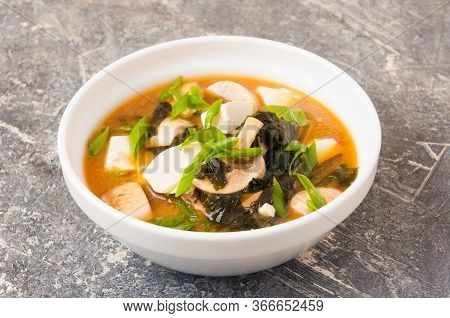 Miso Soup In A White Bowl. Asian Cuisine