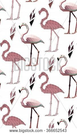 Pattern Of Low Poly Flamingos With Plants: Flamingo With Points, Flamingo In Colour , Vector Graphic