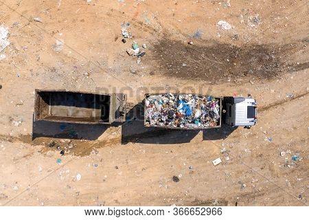 Loaded Garbage Truck At A Municipal Landfill.