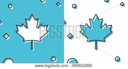 Black Canadian Maple Leaf Icon Isolated On Blue And White Background. Canada Symbol Maple Leaf. Rand