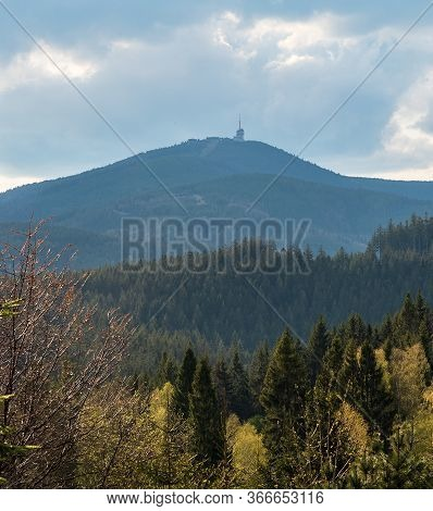 Lysa Hora Hill From Visalaje In Moravskoslezske Beskydy Mountains In Czech Republic During Springtim