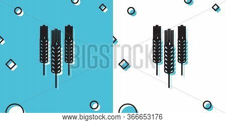 Black Cereals Icon Set With Rice, Wheat, Corn, Oats, Rye, Barley Icon Isolated On Blue And White Bac