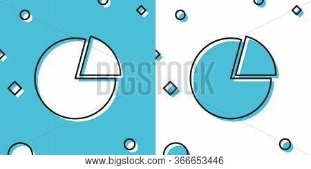 Black Pie Chart Infographic Icon Isolated On Blue And White Background. Presentation Graph Sign. Dia