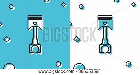 Black Engine Piston Icon Isolated On Blue And White Background. Car Engine Piston Sign. Random Dynam