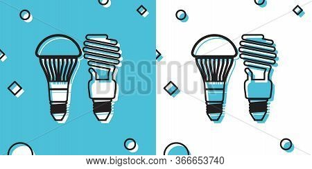 Black Economical Led Illuminated Lightbulb And Fluorescent Light Bulb Icon Isolated On Blue And Whit
