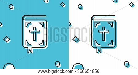 Black Bible Book Icon Isolated On Blue And White Background. Holy Bible Book Sign. Random Dynamic Sh