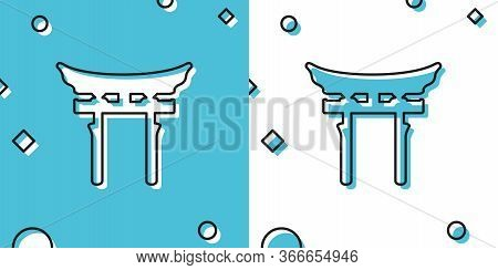 Black Japan Gate Icon Isolated On Blue And White Background. Torii Gate Sign. Japanese Traditional C