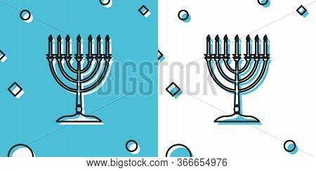 Black Hanukkah Menorah Icon Isolated On Blue And White Background. Religion Icon. Hanukkah Tradition