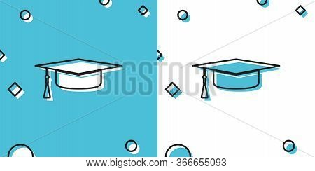 Black Graduation Cap Icon Isolated On Blue And White Background. Graduation Hat With Tassel Icon. Ra