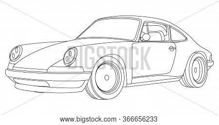 Line Art Vector Car, Concept Design. Vehicle Black Contour Outline Sketch Illustration Isolated On W