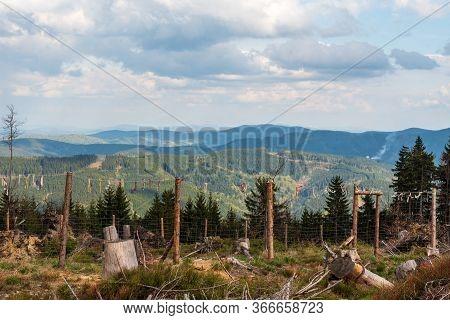 View From Foermer Hiking Trail Bellow Travny Hill In Moravskoslezske Beskydy Mountains In Czech Repu