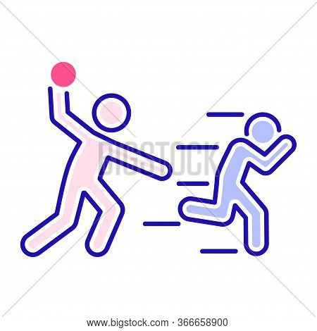 Bullying Between Kids Color Line Icon. Problem Of Mockery And Bullying At School. Isolated Vector El