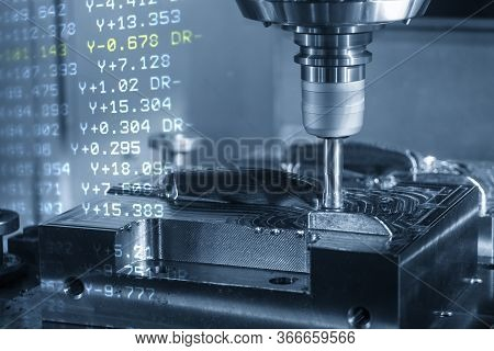 The Abstract Scene Cnc Milling Machine Rough Cutting  The Injection Mold Parts By Indexable  Endmill