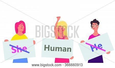 Gender Neutral Vector Illustration Person. He , She - Human Design Symbol. Equality Sex Tolerance No