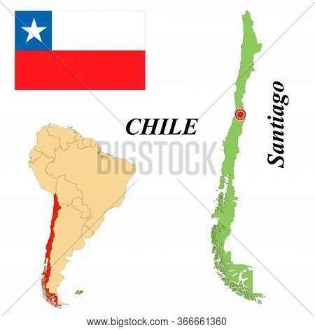 Republic Of Chile. The Capital Is Santiago. Flag Of Chile. Map Of The Continent Of South America Wit