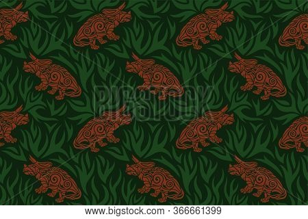 Beautiful Seamless Pattern With Brown Tribal Triceratops Silhouettes On The Green Background