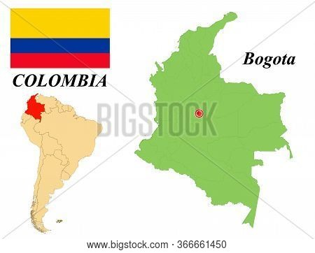 Republic Of Colombia. The Capital Is Santa Fe De Bogota. Flag Of Colombia. Map Of The Continent Of S