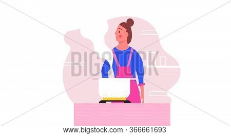 Woman Cooking Food On Kitchen Vector People Illustration. Female Happy Chef With Apron Preparation D