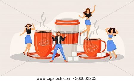 Coffee Fest Flat Concept Vector Illustration. Active Caucasian People. Caffeine Drinks In Red Mugs.