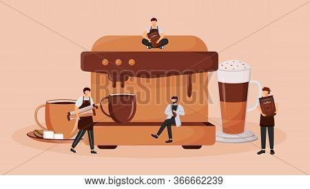 Automatic Coffee Machine Flat Concept Vector Illustration. Preparing Cappuccino. Hot Espresso Drink