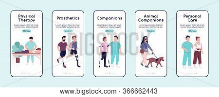 Disabled People Care And Companions Onboarding Mobile App Screen Flat Vector Template. Walkthrough W