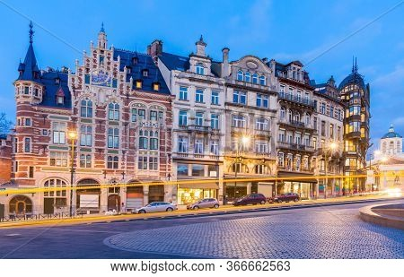 Architecture of Brussels Cityscape old town builduing skyline in Brussels downtown Belgium Benelux Eu. EU Begium city landmark and shopping center for tourism and travel destination concept.